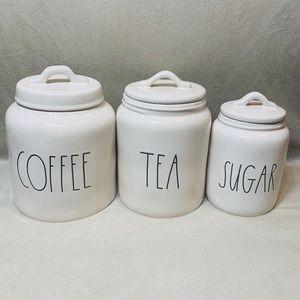 "New Rae Dunn ""COFFEE/TEA/SUGAR"" Canisters Set Of 3"